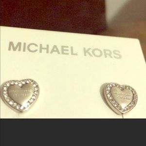Michael Kors Silver pave heart earrings NEW